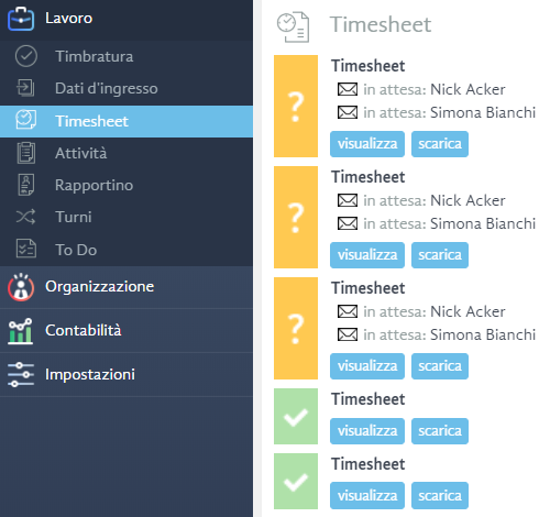 timesheet - software di timbratura online
